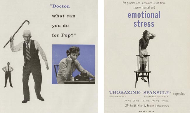Thorazine vintage drug ads - senility and stress