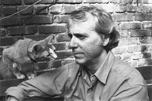 Don DeLillo with feline friend