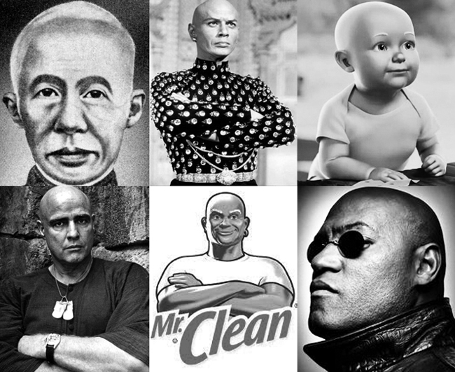 From left to right, top to bottom: King Mongkut; Yul Brynner as The King; a young Mr. Clean; Marlon Brando as Colonel Kurtz; the current Mr. Clean logo; Larry Fishburne as Morpheus from the Matrix.